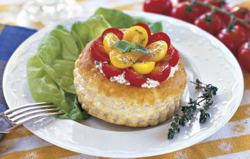 Herbed Goat Cheese Tartlets with Currant Tomatoes