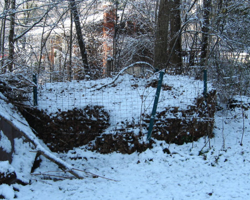 Compost pile in winter