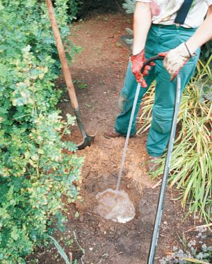 To testa soil's drainage rate, dig a hole and fill it with water. Then monitor the time it takes for the water to seep away to determine if your soil is fast- or slow-draining. Photo/Illustration: Todd Meier
