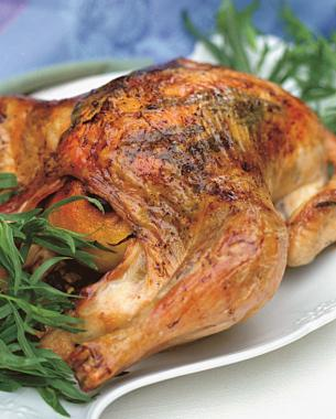 Tarragon-stuffed roasted chicken